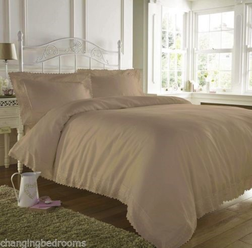 Mink Beige Soft Embroidered Lace Edged Duvet Cover Sets In Double Or King Size