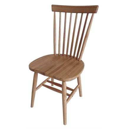 2x Rib Spindle Back Dining Chair - Solid Oak - Natural finish