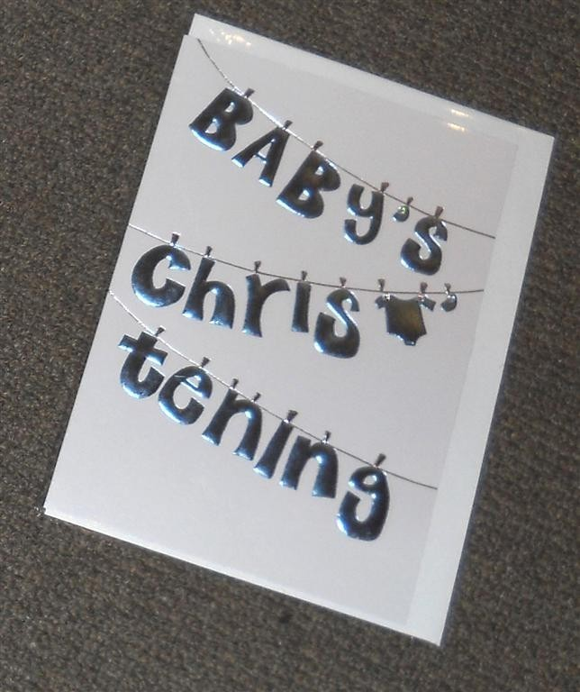 Baby's Christening Card - Blue