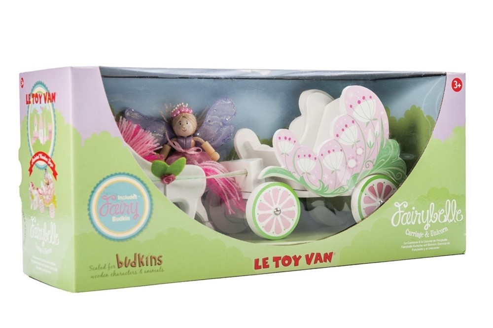 Budkins Fairybelle Carriage & Unicorn with Fairy - Wooden Toys by Le Toy Van