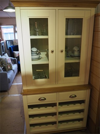CLEARANCE OFFER - Salisbury Dresser - Narrow Sideboard with Wine Rack with Dresser Top