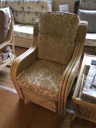 Cane Furniture clearance - Opera Armchair in Emily fabric - by Desser