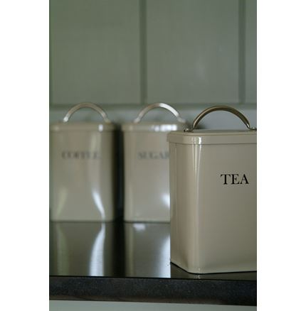 Cannister set of 3 Tins - TEA - COFFEE - SUGAR in clay finish