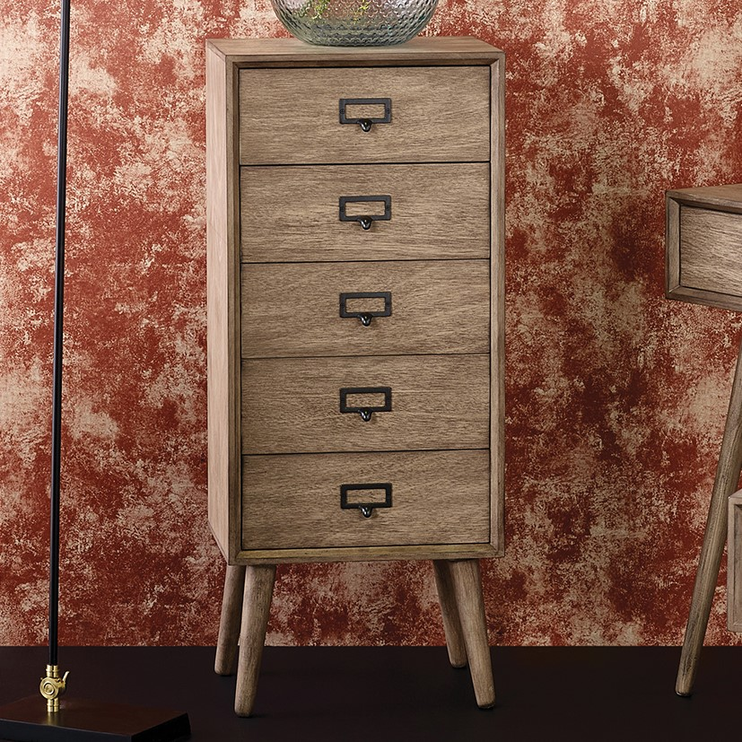 Klimt - Desert Brown Pine Wood 5 Drawer Unit - Tall Boy