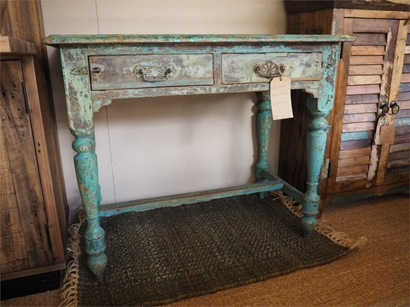 NOW SOLD - Dressing table - desk - distressed turquoise finish