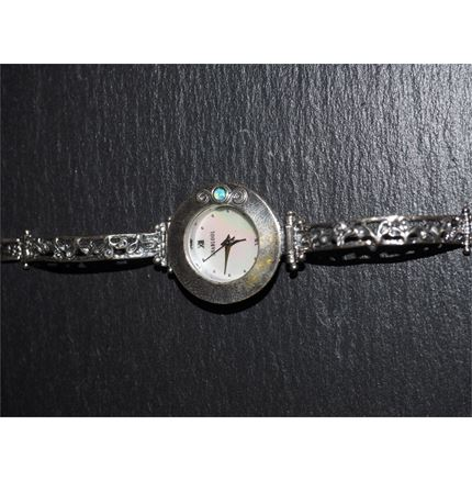 Silver watch - Round Face - Blue opal