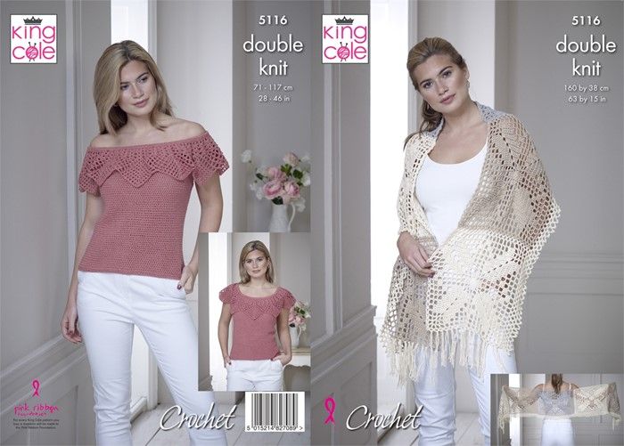 King Cole Finesse Cotton Dk Crochet Pattern Kc5116