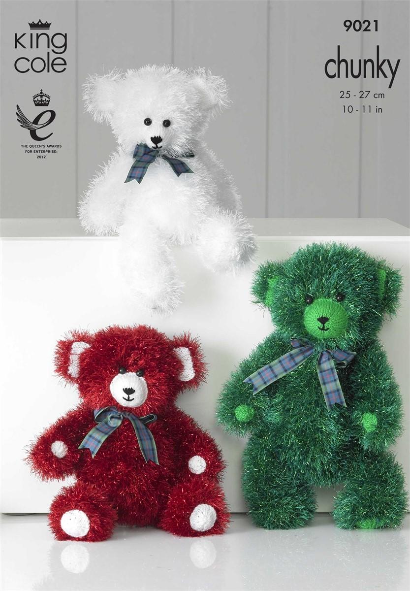 King Cole Luxe Fur Knitting Pattern 9019 Three Teddy Bears : King Cole Tinsel Teddy Bear Pattern KC9021